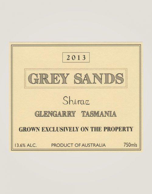 Grey Sands Shiraz 2013 label