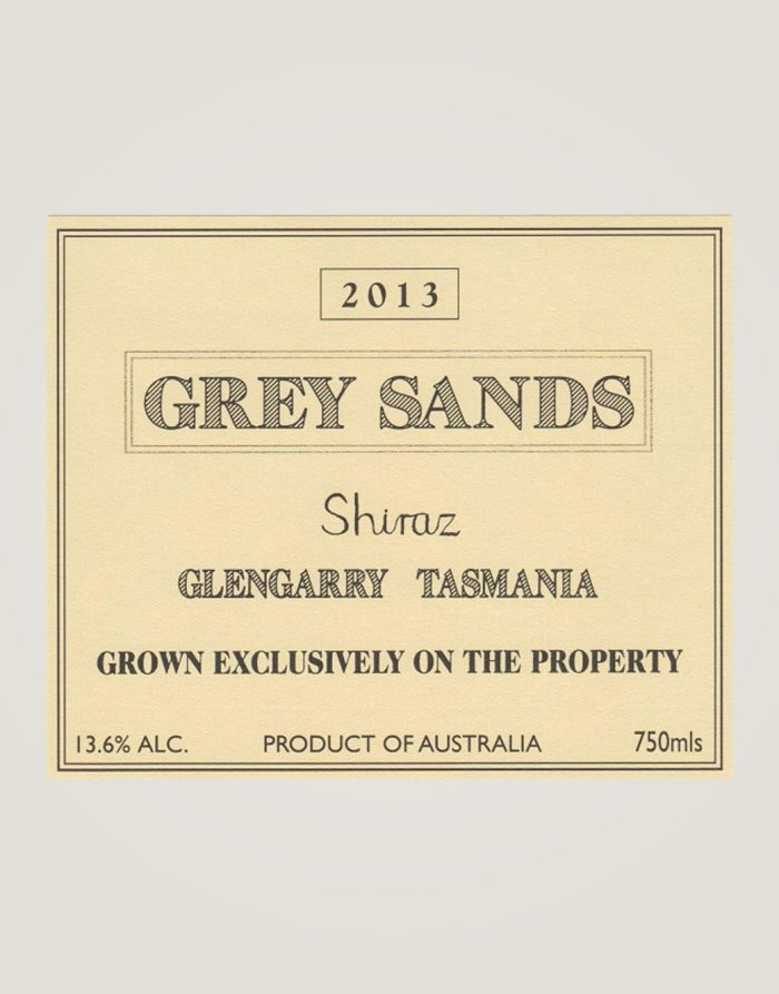Grey Sands Shiraz 2013 label