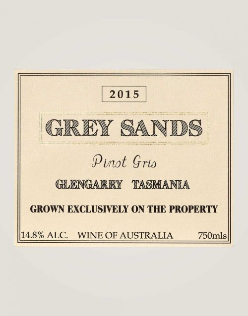 Grey Sands 2015 Pinot Gris label