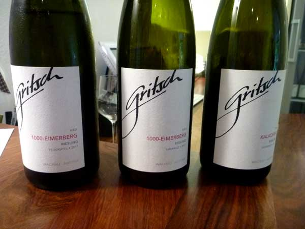 Selection of Gritsch rieslings, Spitz, Austria