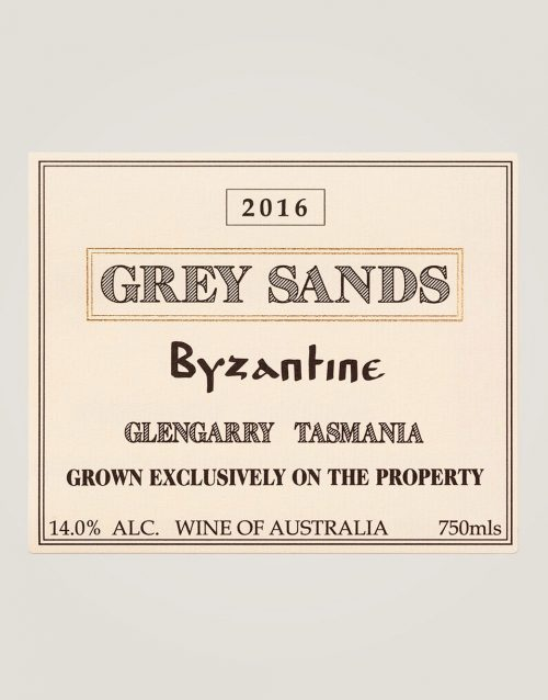 Large front label of Grey Sands 2016 Byzantine