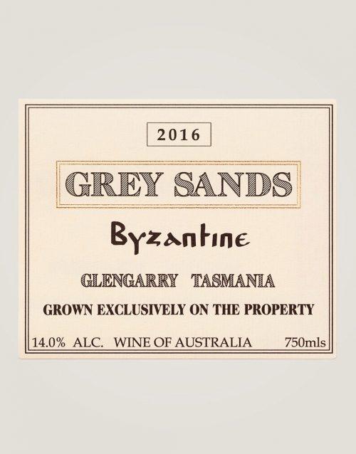 Large front label of Grey Sands 2016 Byzantine