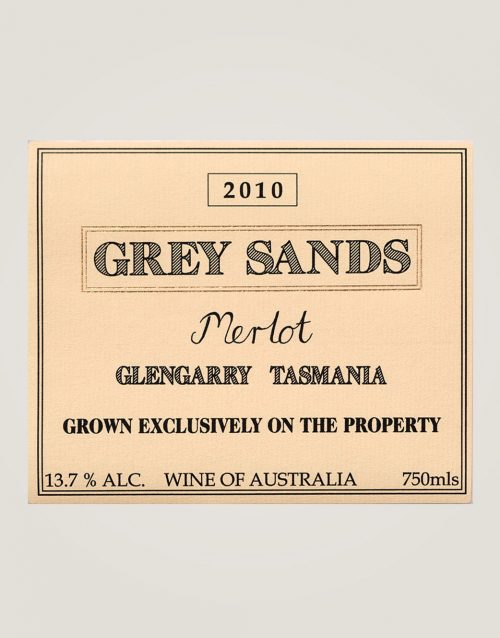 Front label of 2010 Grey Sands Merlot