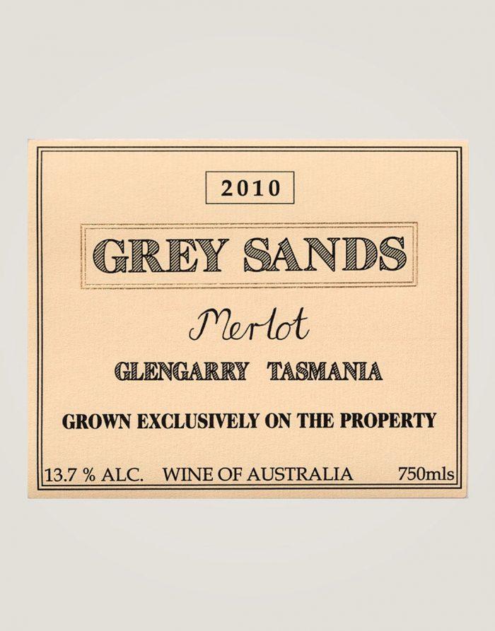 Front label of 2010 Grey Sands Merlot