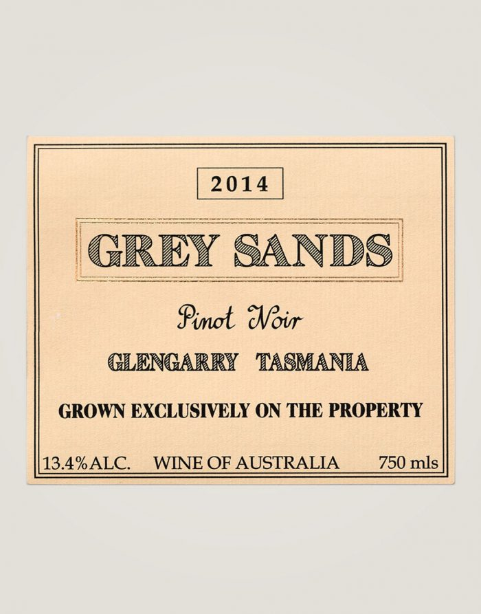 Large label of Grey Sands 2014 Pinot Noir