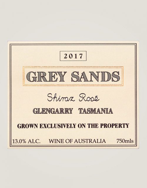 Large label of 2017 Grey Sands Shiraz Rosé