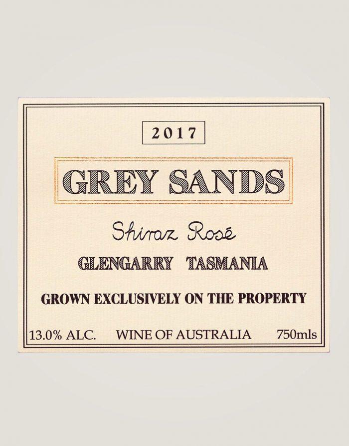 Large label of 2017 Grey Sands Shiraz Rosé
