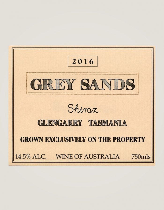Large front label of Grey Sands 2016 Shiraz