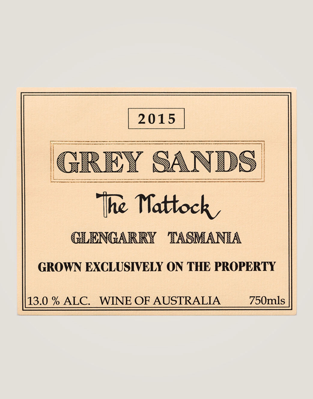 Large front label of Grey Sands 2015 The Mattock