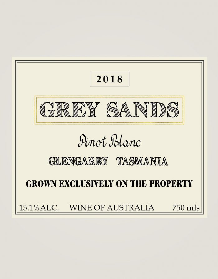 Grey Sands 2018 Pinot Blanc front label