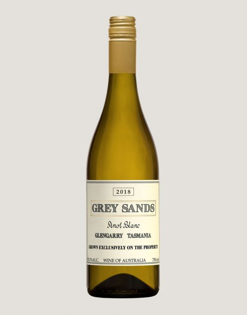 A bottle of Grey Sands 2018 Pinot Blanc