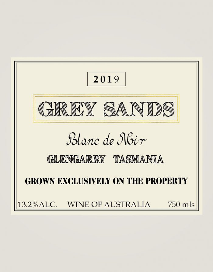 Grey Sands 2019 Blanc de Noir label
