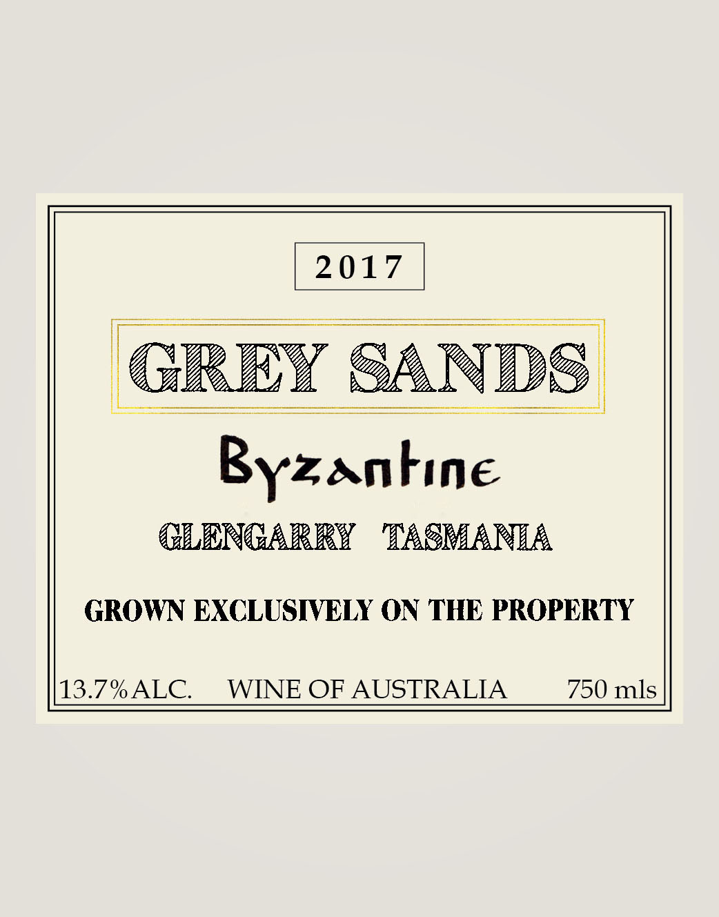 Grey Sands 2017 Byzantine label