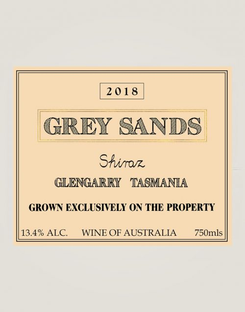 Grey Sands 2018 Shiraz front label
