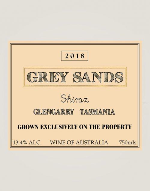 Grey Sands 2018 Shiraz front label