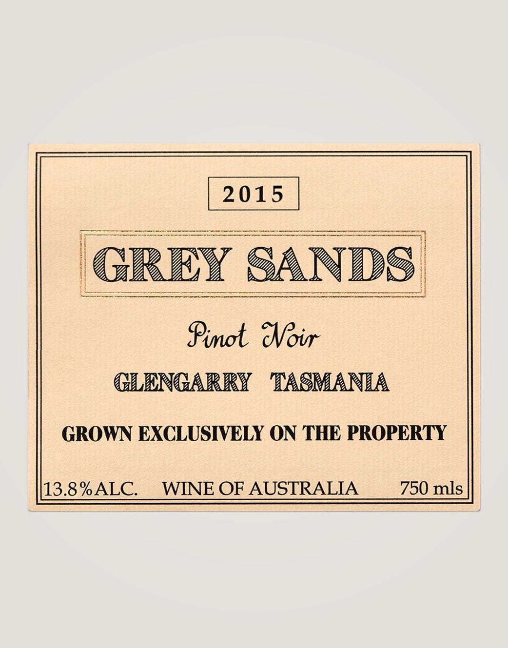 Grey sands 2015 Pinot noir label